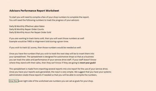Advisor Performance Workbook